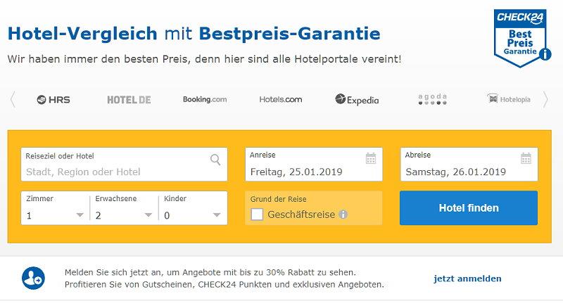 Hotel-Vergleich mit Bestpreis-Garantie
