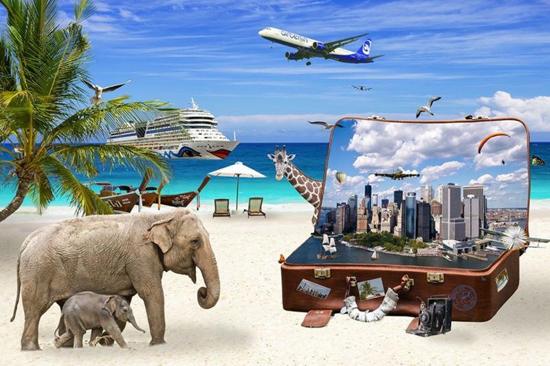 Montage einer Weltreise mit Palmen, Tieren, einem Koffer und mehr.