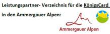 Leistungspartner der Königs-Card in den Ammergauer Alpen